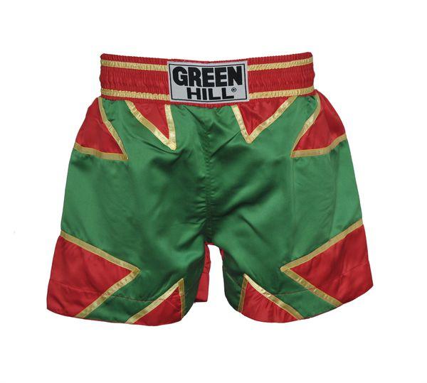 Шорты для тайского бокса, зеленые, Зеленый Green Hill (TBS-8033)