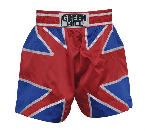 Шорты для тайского бокса британский флаг Green HillШорты для тайского бокса/кикбоксинга<br>Шорты для тайского бокса. Крепление на резиновом поясе. 100% атлас/полиэстер. Высота резинки: 7 см<br><br>Размер INT: S