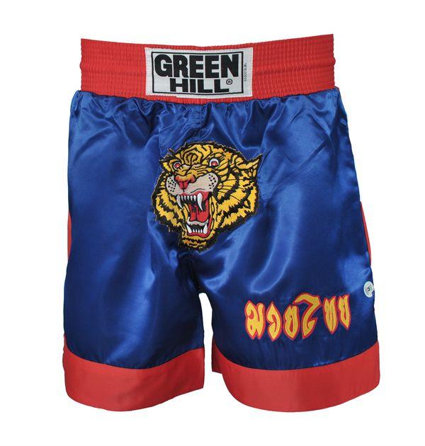 Шорты для тайского бокса tbs-8034, Синий Green HillШорты для тайского бокса/кикбоксинга<br>Трусы для тай бокса. Материал: 100% атлас/полиэстер. Особо широкие, не сковывающие движение, с резиновым поясом. Объем резинки: 99 см,Высота шорт: 50 смВысота резинки: 7 см<br><br>Размер INT: M