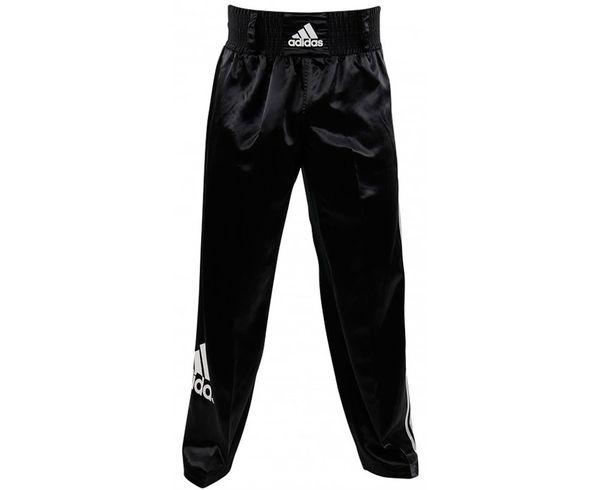 Брюки для кикбоксинга Kick Boxing Pants Full Contact, черные AdidasШтаны для кикбоксинга<br>Брюки для кикбоксинга adidas Pants Kickboxing Full Contact изготовлены из легкого мягкого и приятного на ощупь атласа. На правой штанине брюк большой логотип adidas. Брюки оснащены технологией ClimaCool&amp;reg;: дышащая ткань, которая поглощает излишки влаги и выводит их наружу, оставлет кожу сухой, что повышает комфорт во время тренировок. На внутренней стороне ноги специальная эластичная сетка в виде клина на 3/4 длины ноги. Технология ClimaCool&amp;reg;Логотип adidas на резинкеМатериал: 100% полиэстер<br><br>Размер INT: 170 см