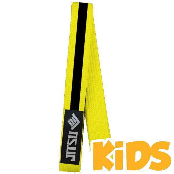 Детский пояс Jitsu, желтый JitsuЭкипировка для Джиу-джитсу<br>Детский пояс для кимоно Jitsu. На поясе присутствует сегмент для ранговых нашивок. Ширина пояса для бжж Jitsu примерно 4. 5см, толщина примерно 0. 5см. Длина пояса (примерно): M1 = 210см, M2 = 220см, M3 = 230см, M4 = 240см. Состав: 100% хлопок.<br><br>Размер: M2