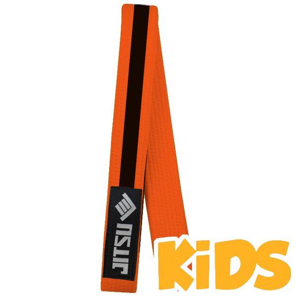 Детский пояс Jitsu, оранжевый JitsuЭкипировка для Джиу-джитсу<br>Детский пояс для кимоно Jitsu. На поясе присутствует сегмент для ранговых нашивок. Ширина пояса для бжж Jitsu примерно 4. 5см, толщина примерно 0. 5см. Длина пояса (примерно): M1 = 210см, M2 = 220см, M3 = 230см, M4 = 240см. Состав: 100% хлопок.<br><br>Размер: M3