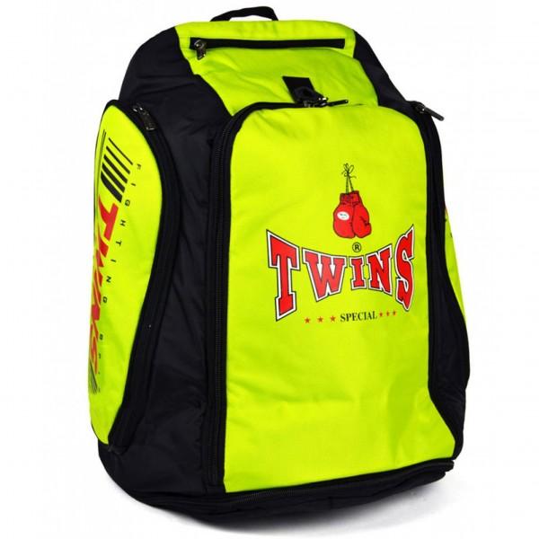 Рюкзак-трансформер от Twins Special, желтый Twins SpecialСпортивные сумки и рюкзаки<br>Универсальная сумка-рюкзак Twins. Это одновременно и спортивная сумка, и рюкзак. Помимо основного отделения на рюкзаке имеется изолированный боковой карман и термоотдел. Носить рюкзак можно на двух очень удобных лямках (в состоянии рюкзака) и на плечевом ремне (в состоянии сумки). Рюкзак в несколько действий превращается в сумку. Размеры рюкзака: 55 х 40 х 30. 5см Материал: 100% полиэстер.<br>