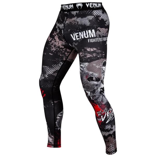Компрессионные штаны Venum Zombie Return VenumКомпрессионные штаны / шорты<br>Компрессионные штаны Venum Zombie Return. С этими компрессионками от Venum вы будете думать только о тренировочном процессе, не отвлекаясь на неприятные ощущения в мышцах ног. Предназначены для улучшения кровообращения в мышцах, что, в свою очередь, способствует уменьшению времени на восстановление полной работоспособности мышцы. Прекрасно сидят на любом теле, хорошо тянутся, абсолютно НЕ сковывают движения. Очень приятная на ощупь ткань. Штаны Venum достаточно быстро сохнут. Плоские швы не натирают кожу. Предназначены для занятий самыми различными единоборствами, кроссфитом, фитнесом, железным спортом и т. д. . Уход: Машинная стирка в холодной воде, деликатный отжим, не отбеливать.<br><br>Размер INT: M