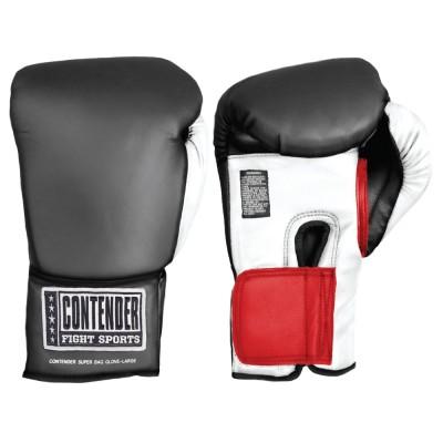 Перчатки боксёрские тренировочные, липучка, черный ContenderБоксерские перчатки<br>первоклассная защита, обеспечиваемая вследствие наполнителю из формованной пены<br> комфортабельная фиксирование на запястье<br> искусственная кожа<br><br>Размер: Размер XL