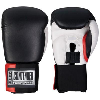 Перчатки боксерские тренировочные, липучка, 10 OZ ContenderБоксерские перчатки<br>Изготовлены из 100% кожи с влагонепроницаемым вкладышем из нейлона<br> Обеспечивают наивысшую защиту рук боксера, великолепный удобство и микроклимат изнутри перчаток<br> Перчатки металла мягче вследствие новым технологиям пены наивысшей плотности<br><br>Цвет: Чёрный/белый