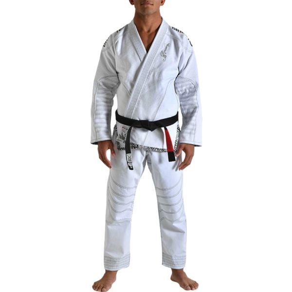 Кимоно для бжж Grips Armadura, белое Grips AthleticsЭкипировка для Джиу-джитсу<br>Кимоно для BJJ (бразильское джиу-джитсу) Grips Athletics Armadura. Ги Grips - это новый шаг в производстве экипировки для БЖЖ. Сшито кимоно по новейшим лекалам. За счёт этого куртка садится плотнее. Новейшая разработка для увеличения комфорта - вставка внутри куртки из перфорированной синтетической ткани. Этот дополнительный сегмент отводит пот от тела и при этом мешает ему проникнуть вглубь хлопковой материи кимоно. Это ги можно описать двумя словами: качество и стиль. Gr1ps Athletics всегда старается снабдить свою продукцию фирменными элементами: эластичные шнурки, отстрочка, вышивка и дополнительные вставки. Все эти составляющие качественно отличают творения итальянского производителя Grips Athletics от других изготовителей. За счёт наилучшего качества хлопка это кимоно является оптимальным выбором для любителей бразильского джиу-джитсу. - Тип плетения куртки: Pearl Weave. - В области колен штаны дополнительно укреплены. - Воротник, наполнен пеной EVA для более быстрого высыхания и комфорта. - Высочайшее качество вышивки. Подойдет и для ежедневных тренировок и для соревнований. Ги сделано из цельного куска ткани (без швов на спине)! Штаны на шнурке; на поясе - допонительные петли для того, чтобы шнурок держал штаны прочно; Данное ги подойдет и для новичков, и для мастеров. При стирке в горячей воде возможна усадка порядка 5%. Стирать ги рекомендуется в мягкой воде до 30 градусов без отбеливателя. Состав куртки: 100% хлопок высокого качества. Состав штанов: 100% CVC-рипстоп. Пояс в комплек не входит.<br><br>Размер: A3