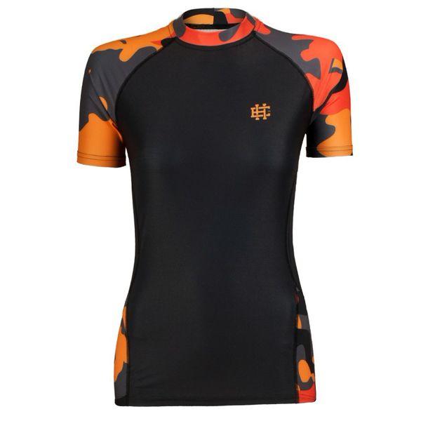 Рашгард с коротким рукавом женский workout (оранжевый) Extreme Hobby