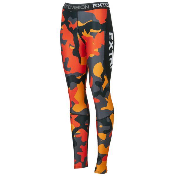 Штаны компрессионные женские workout (оранжевый) Extreme HobbyКомпрессионные штаны / шорты<br>Леггинсы изготовлены из высококачественного материала. Водоотталкивающая ткань оставляет тело сухим, а мыщцы разогретыми. Логотипы нанесены по технологии сублимации, благодаря чему рисунок не трескается и не царапает тело. Специальная резинка на талии предотвращает соскальзываение во время боя.<br><br>Размер INT: S