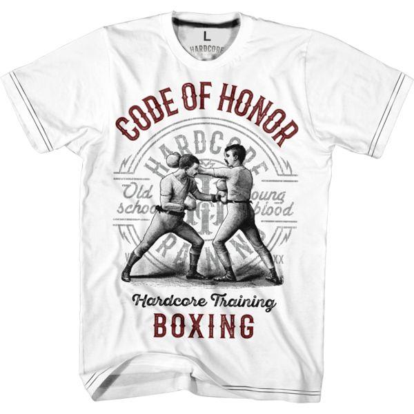 Футболка Hardcore Training Code Of Honor Hardcore TrainingФутболки<br>Футболка Hardcore Training Code Of Honor. Не всем известный факт (но ты точно об этом знаешь и без нас), что бокс своим началом обязан разборкам из-за ставок после скачек и бегов. Со временем , такие мероприятия приобрели спортивный статус, спортсмены больше не могут пропустить стаканчик между раундами, количество которых иногда было настолько большим, что ты мог уснуть дожидаясь результата схватки. Но и тогда, и сейчас боец придерживается кодекса чести. Новая футболка от НСТ для всех славных джентльменов. Уход: машинная стирка в холодной воде, деликатный отжим, не отбеливать. Состав: 92% хлопок, 8% лайкра.<br><br>Размер INT: S