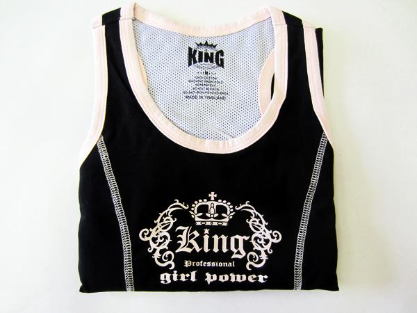 Женский топик, Черный KingМайки<br>Материал – 100% хлопок<br> Отлично годится для занятий спортом и соревнований<br><br>Размер INT: Размер S