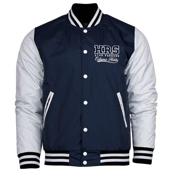 Куртка HRS Extreme Hobby Extreme HobbyКуртки / ветровки<br>Осенне-зимняя бейсбольная куртка HRS Extreme Hobby. Короткий спортивный крой куртки отлично подчеркивает характер владельца. Куртка оснащена двумя боковыми карманами, а также удобным внутренним карманом на липучке. Материал: 100% полиэстер<br>КОЛЛЕКЦИЯ: 58 BASIC<br>ЦВЕТ: СИНИЙ<br>МАТЕРИАЛ: 100% ПОЛИЭСТЕР<br><br>Размер INT: XL
