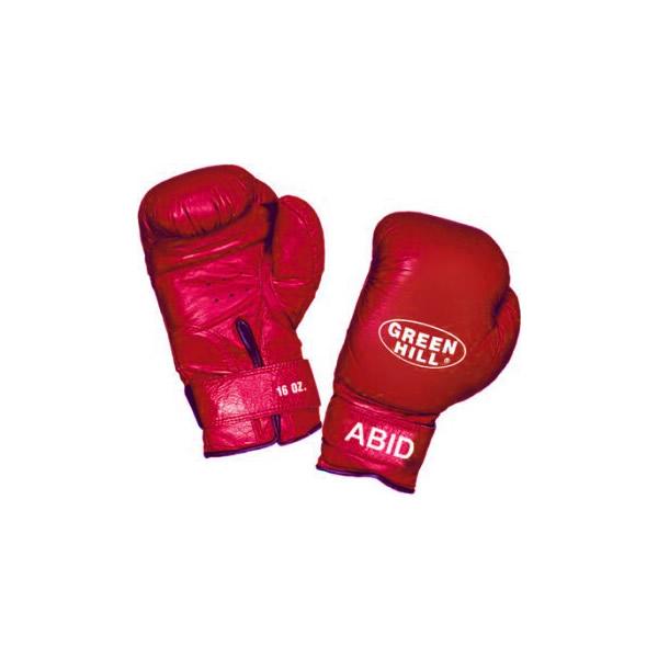 Перчатки боксерские abid, 10 унций Green HillБоксерские перчатки<br>Подходят  для детских и юношеских боксёрских школ<br> За  счёт сверхмягкого наполнителя фактически не наносят травм<br> Материал - 100% кожа<br> Смягчающая  вставка в районе запястья<br> Удобная  застёжка-липучка<br><br>Цвет: Красный