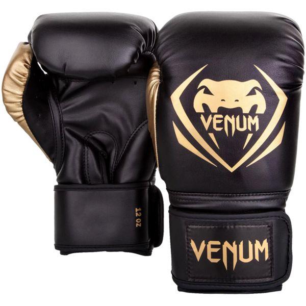 Боксерские перчатки Venum Contender Black/Gold, 14 oz Venum фото