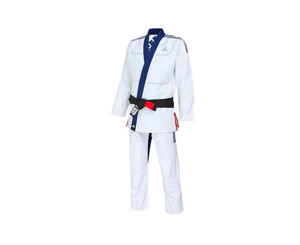 Кимоно для джиу-джитсу Limited Edition бело-синее AdidasЭкипировка для Джиу-джитсу<br>Идеальное сочетание цены и качества. Профессиональное ГИ,сделано из смеси хлопка с полиэстером, 40% полиэстера и60%натурального хлопка высшего качества, плотностью 400g/m2. Куртка сшита из целого куска ткани, без шва на спине, тем самым обеспечивается прочность, комфорт и долговечность ГИ. Модель состоит из куртки и брюк. Детали: приталенная куртка,усиленные места в областях с высокой нагрузкой,брюки на кулиске из нейлонового шнурка, двойное усиление ткани в местах колен. Благодаря составу, практически снижена усадка, советуем соблюдать температурный режим стирке указанный на бирке.  *ГИидет без пояса. Пояс продается отдельно. Подходит для любого уровня спортсмена. Непревзойденное качество, долговечность и комфортПлотная, гибкая и прочная ткань. Специально усиленные места в областях с высокой нагрузкой. Плотность: 400 g/m2Материал: 60% хлопка и 40% полиэстера. Снижена усадка в нулю. Усиленный ворот. Идеально сочетание цены и качества!<br><br>Размер: A2