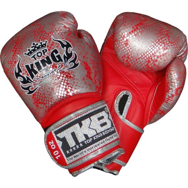 Перчатки боксерские Top King Snake Skin Red/Silver., 10 oz Top King