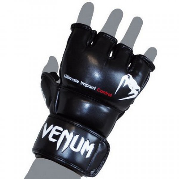 Перчатки ММА Venum Impact MMA Gloves - Skintex Leather Black Venum