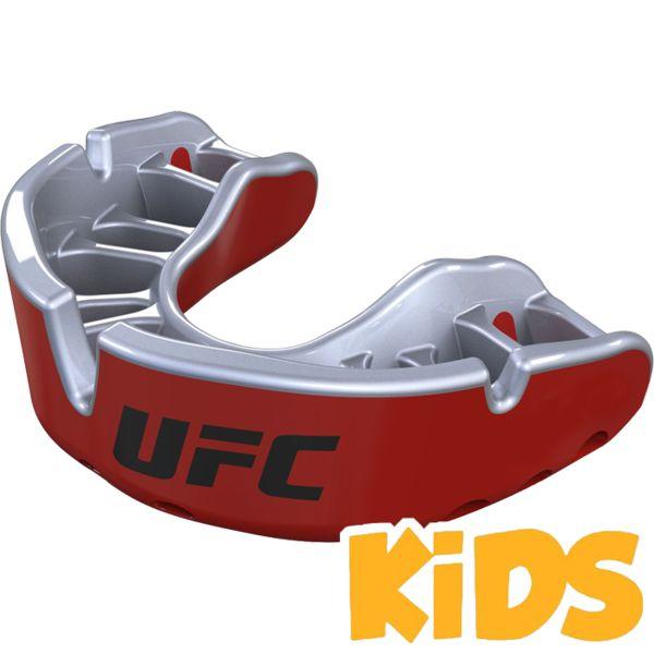 Детская боксерская капа Opro Gold Level UFC Red Metal/Silver Opro