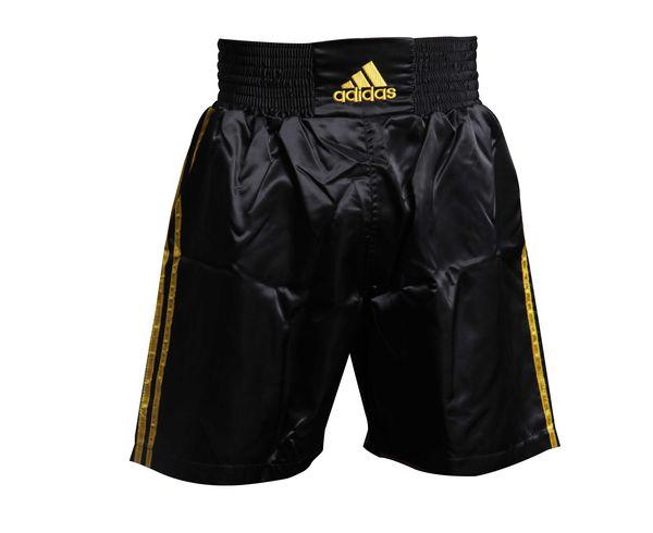 Шорты боксерские Multi Boxing Shorts черно-золотые, черно-золотые AdidasШорты для бокса<br>Шорты боксерские adidas Multi Boxing Shorts черно-золотые. Материал: полиэстер.<br><br>Размер INT: XS