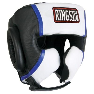Боксерский шлем, тренировочный, Чёрный/белый RINGSIDEБоксерские шлемы<br>Специализированный материал-гель для поглощения и распределения ударных нагрузок<br> Антибактериальная прокладка<br> Сделан из первоклассной кожи<br> Имеет регулируемый ремешок для подборока<br><br>Размер: Размер L
