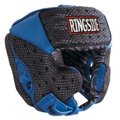 Боксерский шлем, тренировочный, Чёрный/синий RINGSIDEБоксерские шлемы<br>Имеет сетку для вентиляции<br> Внутренняя сторона шлема заполнена пеной и специальным вкладышем для максимального удобства и циркуляции во в ходе соревнований<br> Дополнительная обивка на ремне подбородком и для ушных каналов усиливает защиту<br> Настраиваемая задняя защелка и липучка<br><br>Размер: Размер M