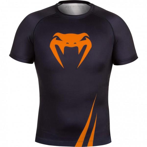 Рашгард Venum Challenger Rashguard - Short Sleeves Black/Neo Orange Venum