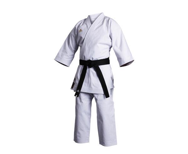 Кимоно для карате Champion European Cut WKF, белое AdidasЭкипировка для Каратэ<br>Кимоно для каратэ(ката) adidas.    Излюбленное кимоно национальных команд и мировых чемпионов.   Плотная хрустящая ткань каратэ ги.   Специально разработанный европейский крой.   Плотность: 460 грамм(16 унций).   Материал: 100%-хлопок.<br><br>Размер: 175 см