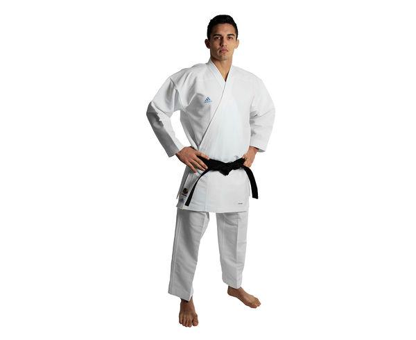 Кимоно для карате Revo Flex Karate Gi WKF, белое AdidasЭкипировка для Каратэ<br>RevoFlex. Профессиональное сверхлегкое кимоно для карате, без пояса. Кумите.    Пожалуй самое лучшее кимоно для каратэ.   Инновационные технологии: супер легкая и дышащая ткань.   Одобрено WKF.   Для тех, кто выбирает самое лучшее.   Материал: 100% полиэстер.<br><br>Размер: 185 см