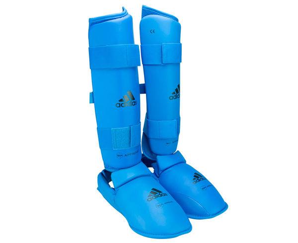 Защита голени и стопы WKF Shin &amp; Removable Foot, синяя AdidasЗащита тела<br>Защита голени и стопы WKF Shin &amp; Removable Foot синяя adidas   Одобрено WKF  Одобрено CE  Инжекционный литой вкладыш  Материал: PU3G<br><br>Размер: M