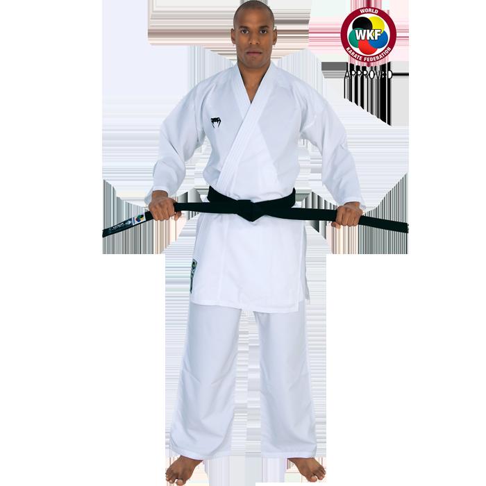 Кимоно для каратэ Venum Elite Kumite, Белое VenumЭкипировка для Каратэ<br>Кимоно (каратэги) для каратэ Venum Elite Kumite. ВНИМАНИЕ: данное каратэги одобрено WKF (Всемирная Федерация Каратэ). Кимоно Venum Elite Kumite является одним из самых лёгких каратэги. Удобное, легкое, но при этом достаточно прочное кимоно. Позволяет тренироваться даже в максимальном ускорении, не создаёт дискомфорта. Предназначено для отработки техники кумитэ. Изготовлено из дышащей ткани плотностью 5. 3 унций. Каратэги хорошо впитывает пот и дышит за счёт перфорированной ткани на спине. Минимальное количество вышивки и патчей. Штаны удерживаются за счёт эластичного пояса со шнурком. Специально усиленные места в областях с высокой нагрузкой. Кимоно не мнется, не вытягивается. Оно сохраняет достойный вид и после многочисленных стирок. Некоторые тренера рекомендуют брать кимоно на 5см больше вашего размера. Выполнено в классическом белом цвете, который символизирует скромность и смирение. Состав: 100% полиэстер. Пояс (оби) в комплект НЕ входит.<br><br>Размер: 150см