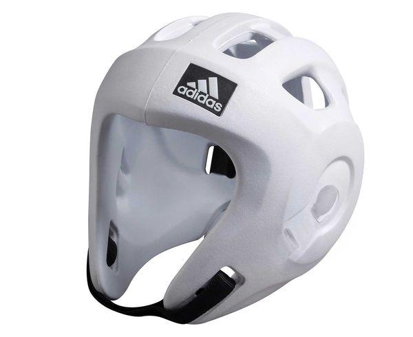 Шлем для единоборств Adizero (одобрен WAKO и WTF), белый AdidasЭкипировка для кикбоксинга<br>Adidas Adizero - это однозначно лучший шлем в своем классе. Он предназначен для таких боевых искусств как бокс,тхэвондо (одобрен WTF (Всемирная федерация тхэквондо), кик-боксинг (одобрен WAKO Всемирная ассоциация кикбоксинга), а так же для других видов контактных единоборств, где требуется гарантированная защита головы с непревзойденным удобством и комфортом. Изготовлен из ультра легкого и супер прочного амортизирующего, резинового материала по технологии adidas. Поставляется с WTF + WAKO комплектом ремней для подбородка и спины для безопасной посадки. Одобрен WAKO и WTFСамый легкий шлеме в своем классеПолностью литой корпус из инновационного материала. Инновационный и эргономичный дизайнОтверстия для вентиляции в верхней и боковых частях шлема. Отлично амортизацияПростая и быстрая настройка ремней с нейлоновой липучкой для подбородка и спины.<br><br>Размер: XS