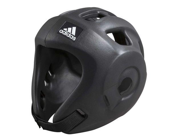 Шлем для единоборств Adizero (одобрен WAKO), черный AdidasБоксерские шлемы<br>Adidas Adizero - это однозначно лучший шлем в своем классе. Он предназначен для таких боевых искусств как бокс,тхэвондо , кик-боксинг (одобрен WAKO Всемирная ассоциация кикбоксинга), а так же для других видов контактных единоборств, где требуется гарантированная защита головы с непревзойденным удобством и комфортом. Изготовлен из ультра легкого и супер прочного амортизирующего, резинового материала по технологии Adidas. Внимание!!! В черном цвете, поставляется только с комплектом ремней WAKO, для регулировки шлема и спины для безопасной посадки.        Одобрен WAKO     Самый легкий шлеме в своем классе    Полностью литой корпус из инновационного материала.    Инновационный и эргономичный дизайн    Отверстия для вентиляции в верхней и боковых частях шлема.     Отлично амортизация    Простая и быстрая настройка ремней с нейлоновой липучкой для подбородка и спины.<br><br>Размер: XS