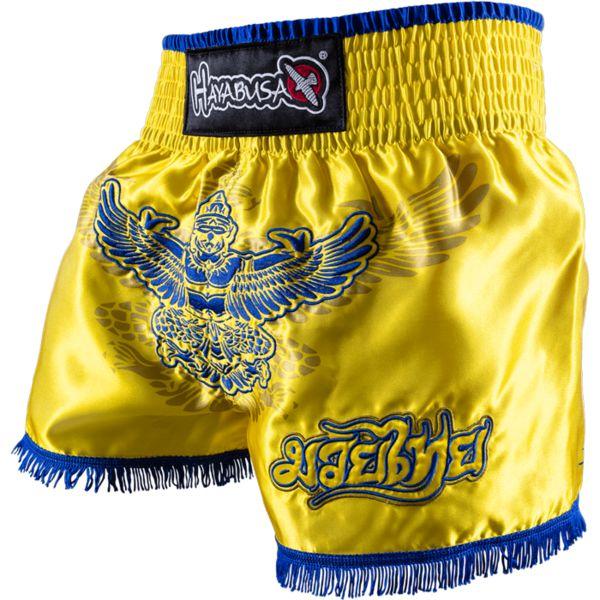 Тайские шорты Hayabusa Garuda HayabusaШорты для тайского бокса/кикбоксинга<br>Шорты для тайского бокса Hayabusa Garuda. Потрясающий дизайн! Потрясающее удобство! Этими шортами надо пользоваться, а не говорить о них!На фронтальной части шорты вышита Священная Птица Гаруда - один из символов просветлённого ума. Так же Гаруда изображена на гербе Таиланда. На задней части шорт вышита Меру - священная гора в космологии индуизма и буддизма, где она рассматривается как центр всех материальных и духовных вселенных. Тайские шорты ручной работы несут в себе тайский боевой дух и тайские традиции!Широкий эластичный пояс гарантирует максимальный и надежную фиксацию на поясе во время боя или тренировки. Все рисунки на шортах -качественная вышивка!Состав: 100% сатин. Ручная работа. Уход: машинная стирка в холодной воде, деликатный отжим, не отбеливать.<br><br>Размер INT: L