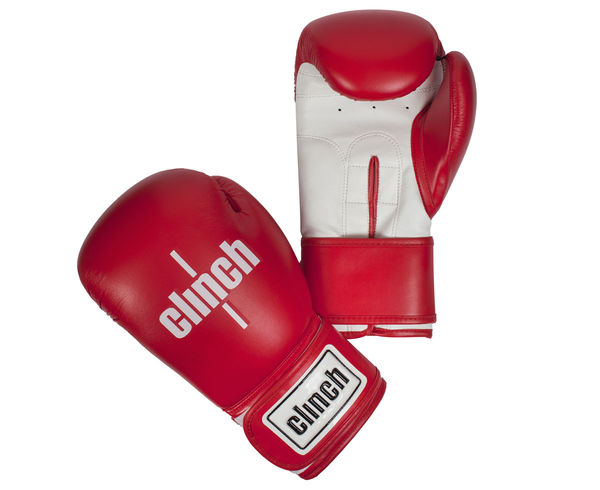 Перчатки боксерские Clinch Fight красно-белые, 8 унций Clinch Gear