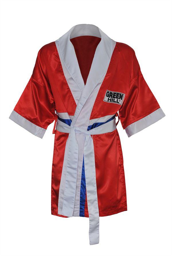Халат боксерский с капюшоном, Красный Green HillБоксерские халаты<br>Материал: ПолиэстерХалат боксера . Традиционная одежда для боксеров, в которой спортсмены выходят на ринг. Легкий и просторный халат пригодится как новичкам, так и профессионалам.<br><br>Размер INT: XXL