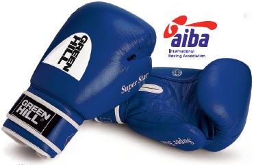 Боксерские перчатки super star одобренные aiba, 10 oz Green Hill