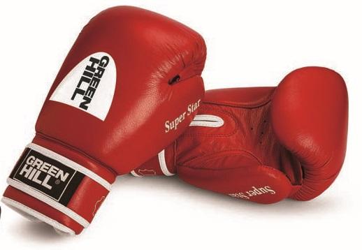 Боксерские перчатки super star с новым логотипом, 10 oz Green Hill