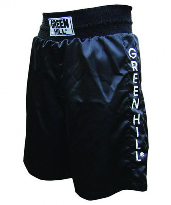 Шорты для бокса Green Hill , Черный Green HillШорты для бокса<br>Трусы боксерские. Трусы боксерские для тренировок. Легкие и удобные , не сковывают движение , легко стираются. Материал: 100% полиэстер.<br><br>Размер INT: L