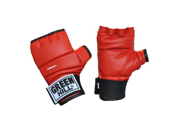 Шингарты, Красный Green HillПерчатки MMA<br>Обрезанные снарядные перчатки (шингарты). Изготовлены из натуральной кожи, ударная поверхность с утолщением. Манжет на липучке. Используются для отработки ударов по боксерскому мешку или специальной подушке. Размеры:Измерьте обхват ладони сантиметровой лентой в наиболее широком месте, исключив при этом большой палец руки Размер: S M L XLОбхват ладони, см. 17-18 18-19 19-22 23-27<br><br>Размер: XL