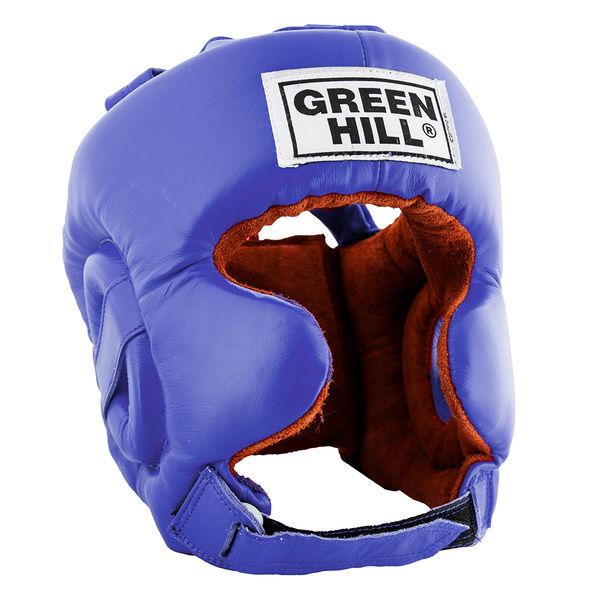 Шлем боксерский defence, Синий Green HillБоксерские шлемы<br>Материал: Натуральная кожаВиды спорта: БоксШлем тренировочный Defence GREEN HILL. Сделан из натуральной кожи. Имеет двойное крепление. С усиленной защитой в области ушей и подбородка. Размер:При подборе шлема следует также учесть, что размеры шлемов можно регулировать за счет специальных застежек. Для выбора шлемов, ориентируйтесь на следующие данные:охват головы - размер48-53 см - S54-56 см - М57-60 см – L61-63 см - XL<br><br>Размер: S