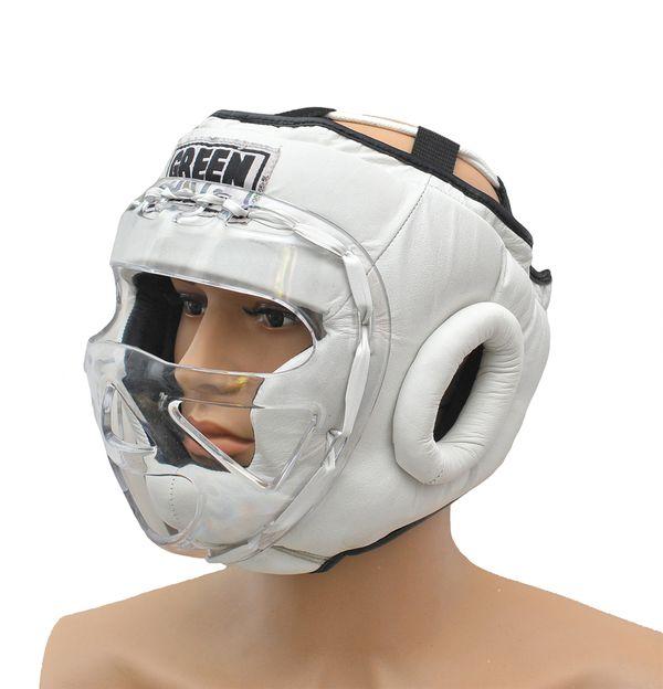 Шлем для бокса safe, Белый Green HillБоксерские шлемы<br>Материал: Натуральная кожаВиды спорта: БоксБоевой и тренировочный шлем. Сделан из высококачественной натуральной кожи. Усиленная защита в области ушей, и подбородка. Лицо защищает пластиковая маска. Размер:При подборе шлема следует также учесть, что размеры шлемов можно регулировать за счет специальных застежек. Для выбора шлемов, ориентируйтесь на следующие данные:охват головы - размер48-53 см - S54-56 см - М57-60 см – L61-63 см - XL<br><br>Размер: S