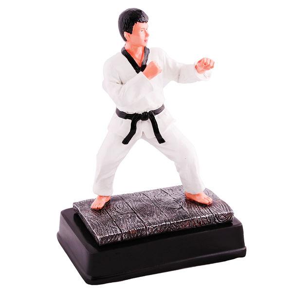 Статуэтка таэквондист в белом кимоно с черным поясом, 12*7*18см Green Hill