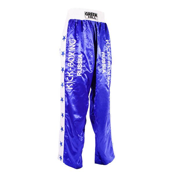 Брюки kiсk olimpic, Синий Green HillШтаны для кикбоксинга<br>Спортивные брюки Green Hill Olympic предназначены для тренировок и соревнований по кикбоксингу. Изделие выполнено из высококачественного полиэстера. Модель прямого кроя на широком поясе с резинкой оснащена затягивающимся шнурком. Брюки не сковывают движений и позволяют наносить удары ногами без каких либо неудобств. По бокам модель оформлена вставками контрастного цвета с аппликацией в виде звезд, брючины декорированы вышитыми надписями Kick-boxing Russia. Спереди на поясе - широкая текстильная нашивка с названием бренда.<br><br>Размер INT: L