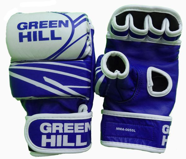 Перчатки mma, кожа, Синий/белый Green Hill (MMA-0055L)