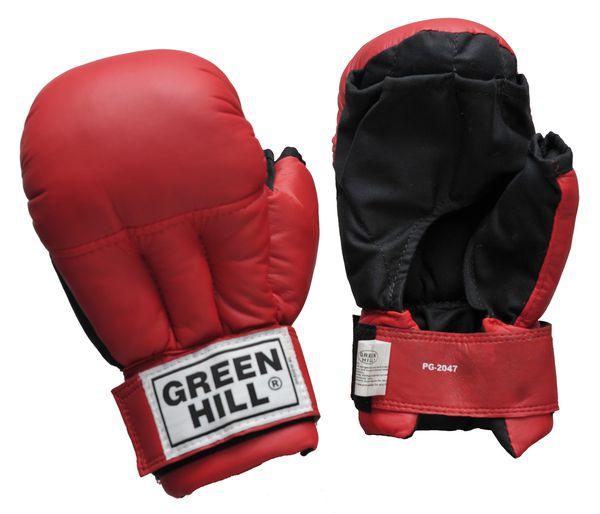 Перчатки для рукопашного боя Green Hill, Красные Green HillЭкипировка для рукопашного боя<br>Перчатки для рукопашного боя Green Hill выполнены из искусственной кожи, что благоприятно сказывается на цене перчаток. Оптимальное сочетание цены и качества делает эти перчатки идеальными для детей, которые только начинают заниматься спортом. Манжет на липучке позволяет легко и быстро снимать и одевать перчатки на тренировке. Открытые пальцы позволяют выполнять захваты, что особенно важно в смешанных единоборствах.<br><br>Размер: XL