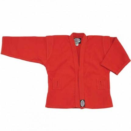 Куртка для самбо, Green Hill, лицензия фср, Красная Green HillЭкипировка для Самбо<br>Материал: ХлопокВиды спорта: СамбоКуртка для занятий самбо. Материал куртки 100% хлопок. Куртка изготовлена по всем требованиям федерации самбо РФ. При окраске применяется 100% природный краситель.<br><br>Размер: 6/190