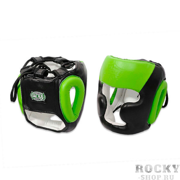 Боксерский шлем Pak Rus Leather Full Face Black/Green